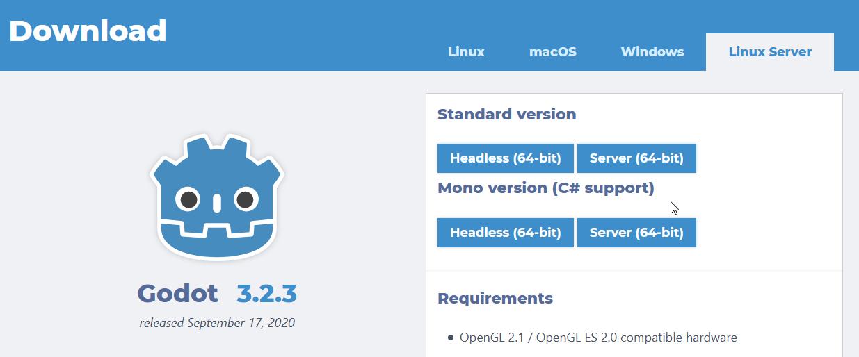 Godot Linux server build
